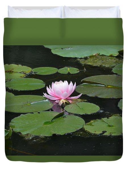 Duvet Cover featuring the photograph Water Lily In Pink by Kathleen Stephens
