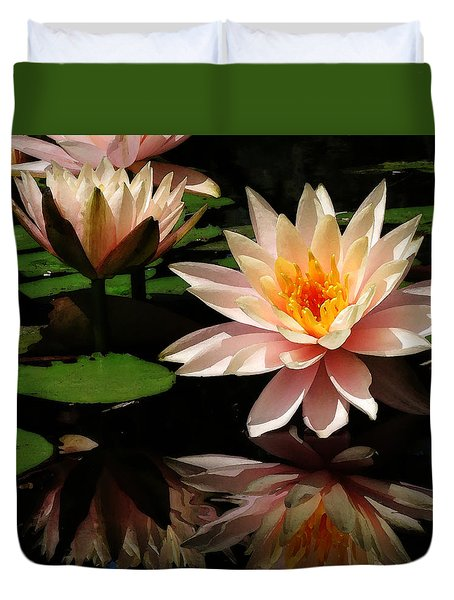 Water Lily In Sunshine Duvet Cover by Deborah Smith