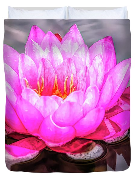 Water Lily In The Rain Duvet Cover