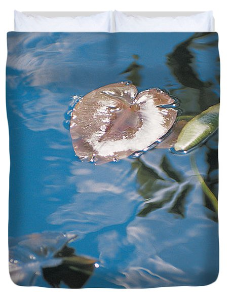 Water Lily Leaves And Reflection Of Clouds In Unknown Lake Duvet Cover