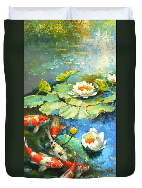 Water Lily Or Solar Pond      Duvet Cover