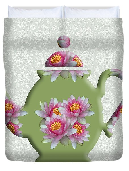 Water Lily Pattern Teapot Duvet Cover