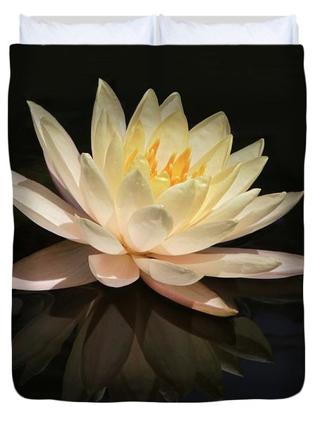 Water Lily Reflected Duvet Cover by Sabrina L Ryan