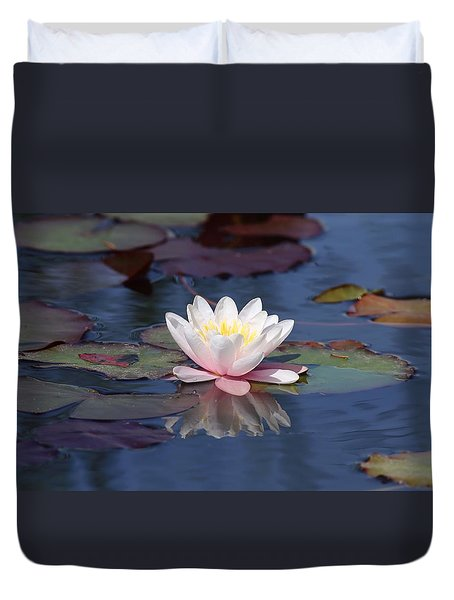 Duvet Cover featuring the photograph Water Lily Reflection by Lynn Hopwood