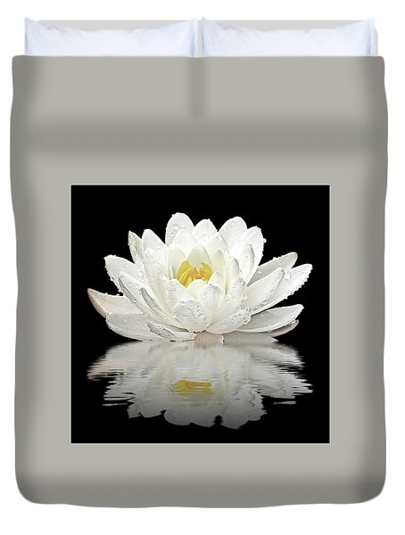 Water Lily Reflections On Black Duvet Cover by Gill Billington