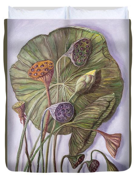 Water Lily Seed Pods Framed By A Leaf Duvet Cover