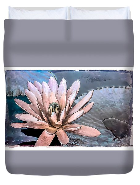 Water Lily Vintage Art Duvet Cover