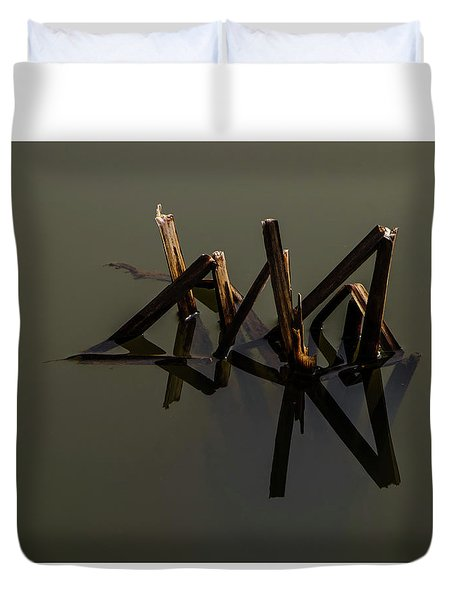 Duvet Cover featuring the photograph Water Lines by Odd Jeppesen