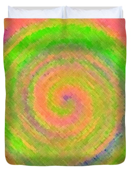 Duvet Cover featuring the digital art Water Melon Whirls by Catherine Lott