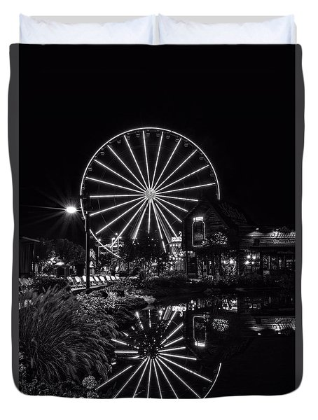 Water Moonshine And A Big Wheel In Black And White Duvet Cover