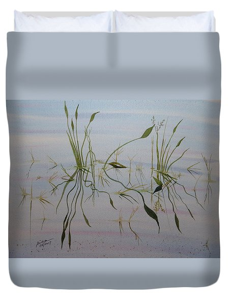 Duvet Cover featuring the painting Water Music by Joel Deutsch