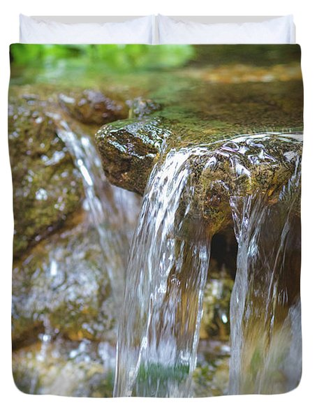 Duvet Cover featuring the photograph Water On The Rocks by Raphael Lopez
