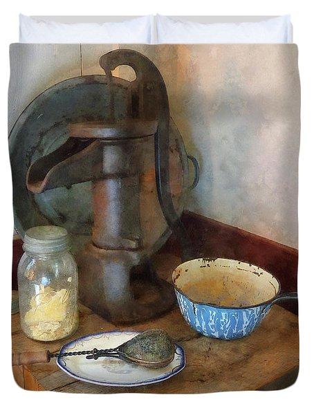 Water Pump In Kitchen Duvet Cover