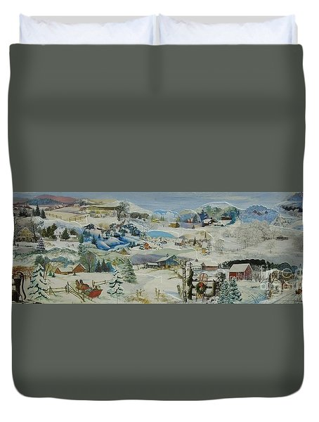 Water Pump In Winter - Sold Duvet Cover by Judith Espinoza