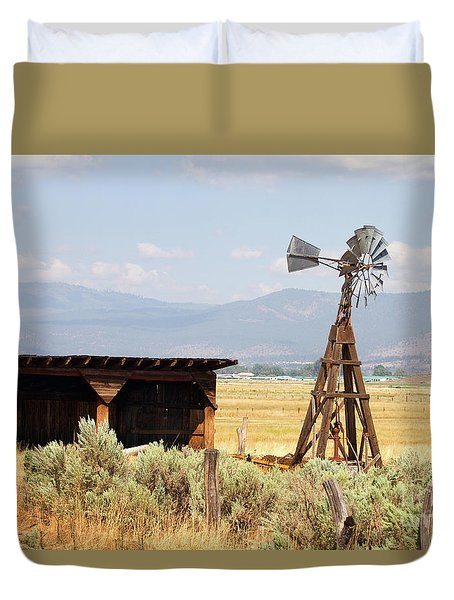 Duvet Cover featuring the photograph Water Pumping Windmill by Steven Frame