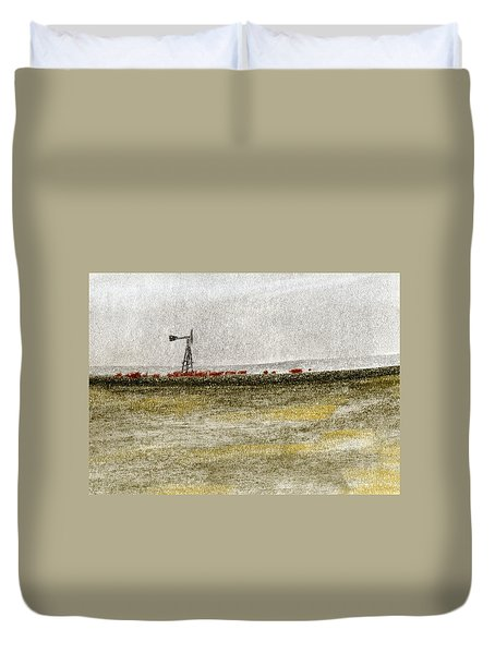 Water, Ranching, And Cattle Duvet Cover by R Kyllo
