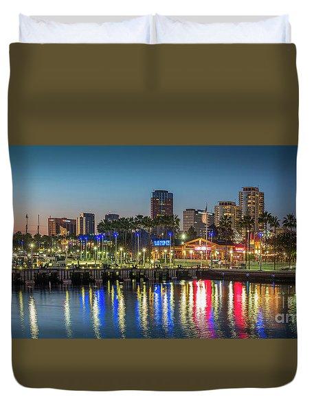 Water Reflecting Lights Sunset Long Beach Ca Duvet Cover