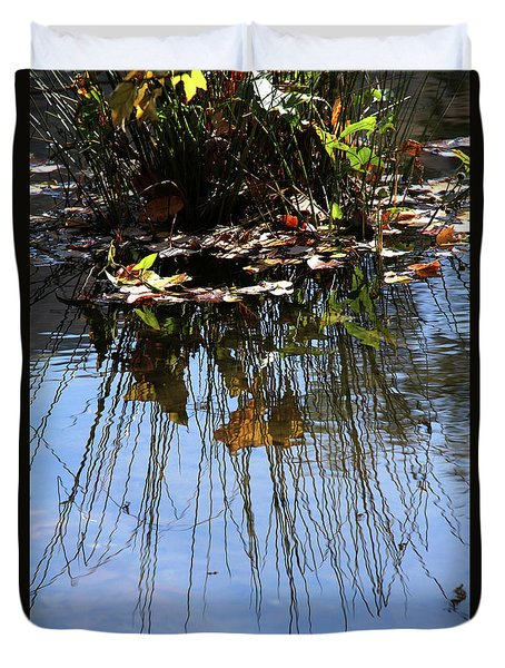 Water Reflection Of Plant Growing In A Stream Duvet Cover by Emanuel Tanjala