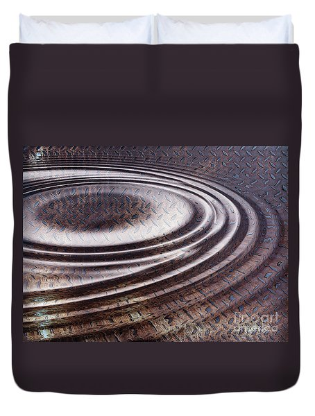 Duvet Cover featuring the digital art Water Ripple On Rusty Steel Plate  by Michal Boubin