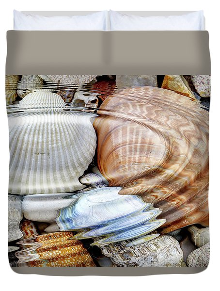 Water Ripples Over The Stone Pebbles Duvet Cover by Michal Boubin