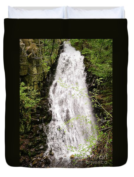 Water Roaring Down Cascade Falls, Farmington, Maine  -30377 Duvet Cover