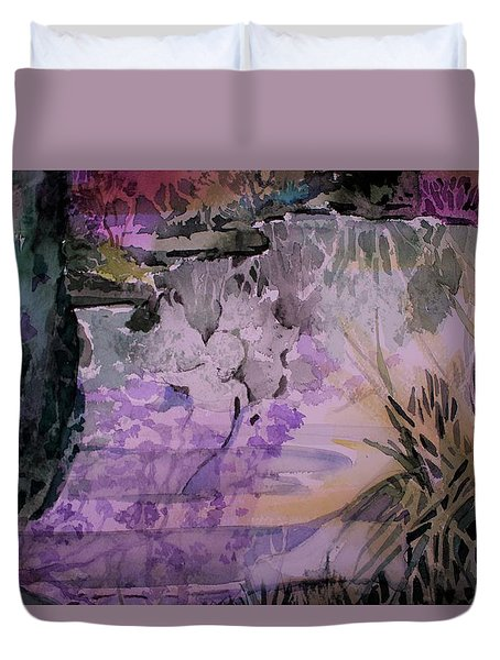 Duvet Cover featuring the painting Water Sprite by Mindy Newman