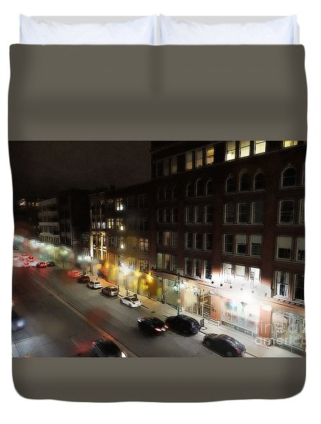 Water Street Looking South From The Marshall Building Duvet Cover by David Blank