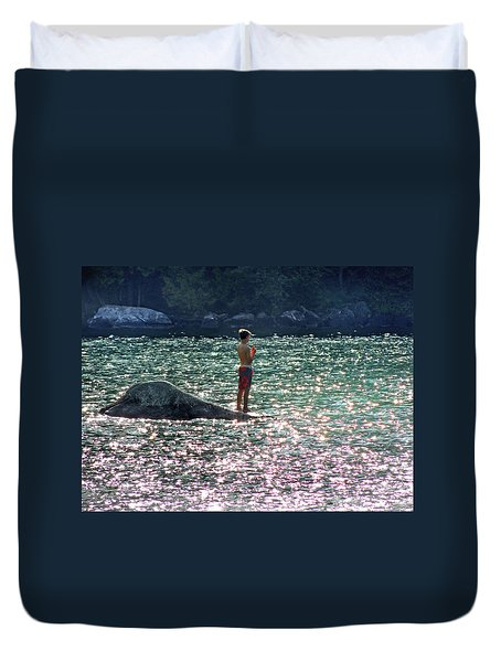Water Sun And Little Boy At Lake Willhouby Duvet Cover