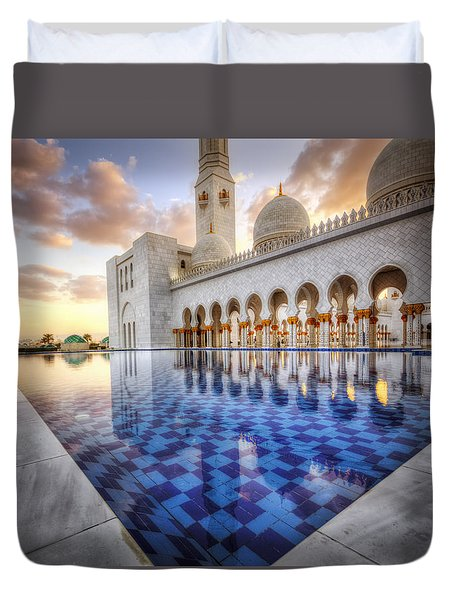 Water Sunset Temple Duvet Cover