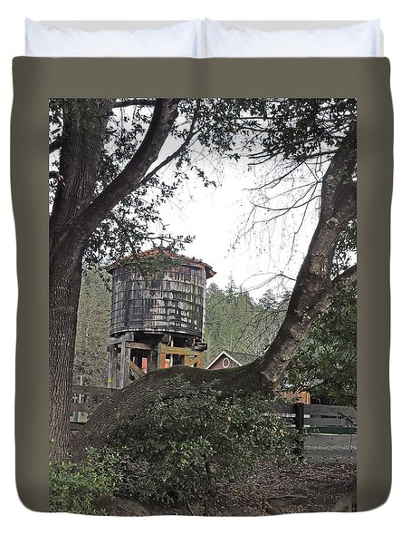 Water Tower @ Roaring Camp Duvet Cover