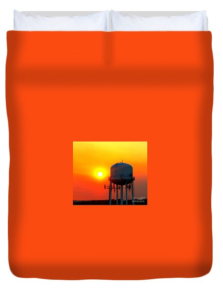 Water Tower Sunset Duvet Cover