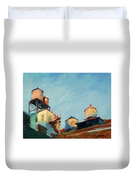 Water Towers At Sunrise No. 1 Duvet Cover