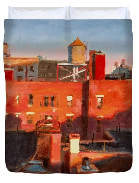 Water Towers At Sunset No. 3 Duvet Cover