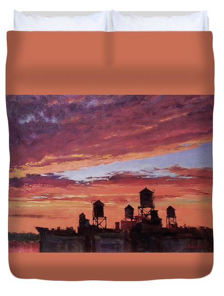 Water Towers At Sunset No. 4 Duvet Cover