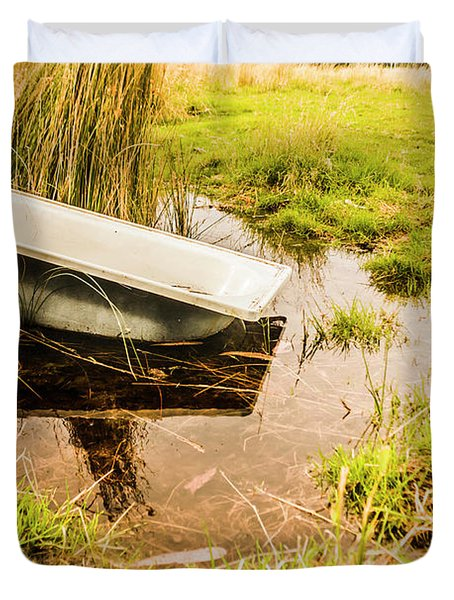 Water Troughs And Outback Farmland Duvet Cover