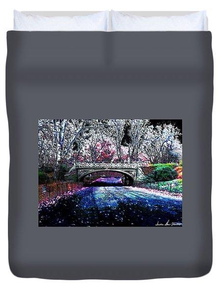 Water Under The Bridge Duvet Cover by Iowan Stone-Flowers