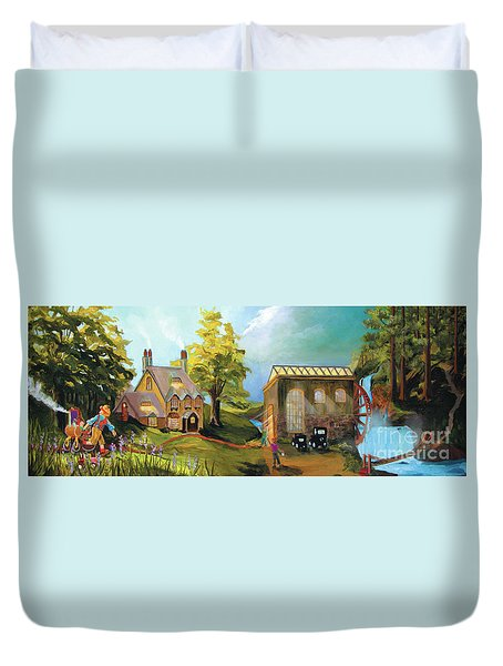 Duvet Cover featuring the painting Water Wheel by Donna Hall