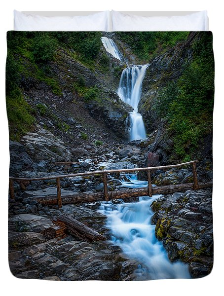 Waterall And Bridge Duvet Cover by Chris McKenna