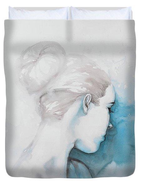 Watercolor Abstract Girl With Hair Bun Duvet Cover