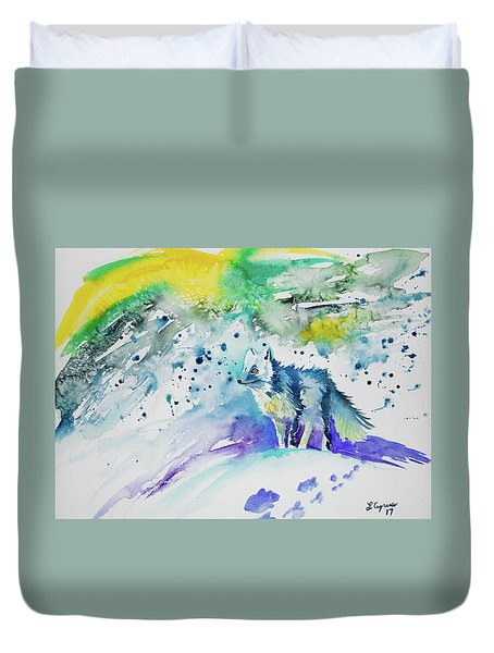 Watercolor - Arctic Fox Duvet Cover