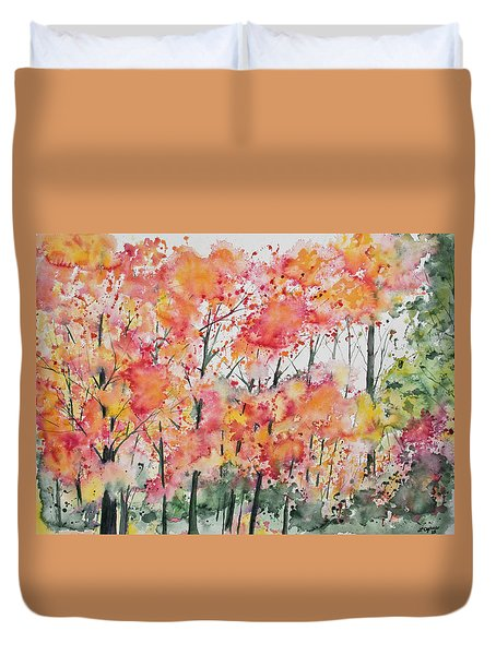 Watercolor - Autumn Forest Duvet Cover