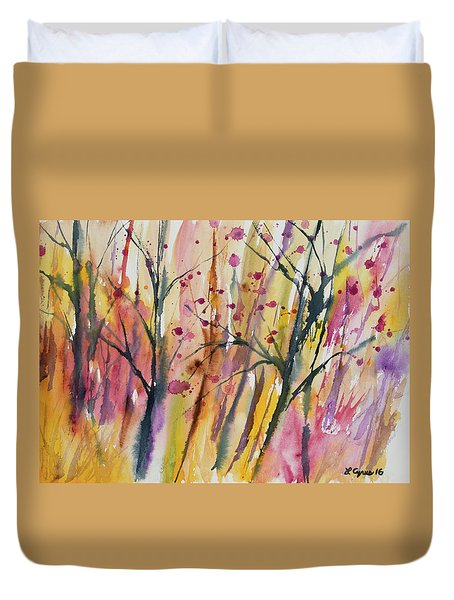 Watercolor - Autumn Forest Impression Duvet Cover