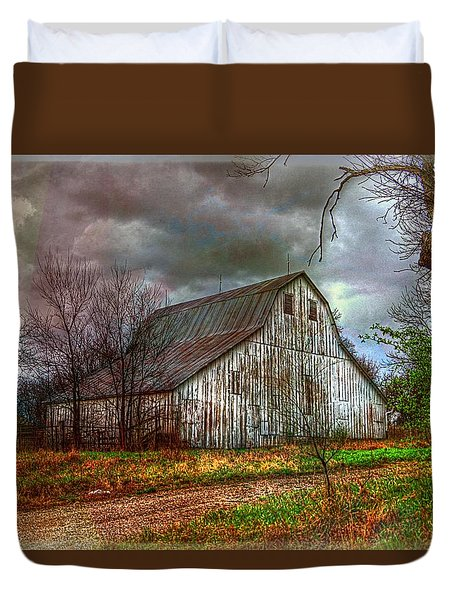 Watercolor Barn 2 Duvet Cover by Karen McKenzie McAdoo