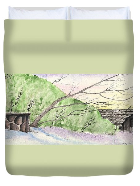 Watercolor Barn Duvet Cover by Darren Cannell