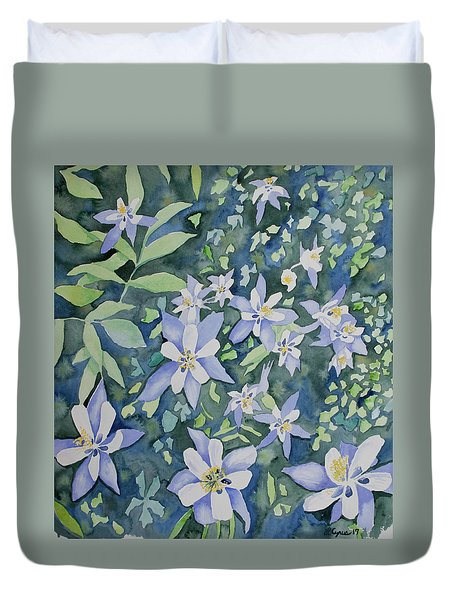 Watercolor - Blue Columbine Wildflowers Duvet Cover