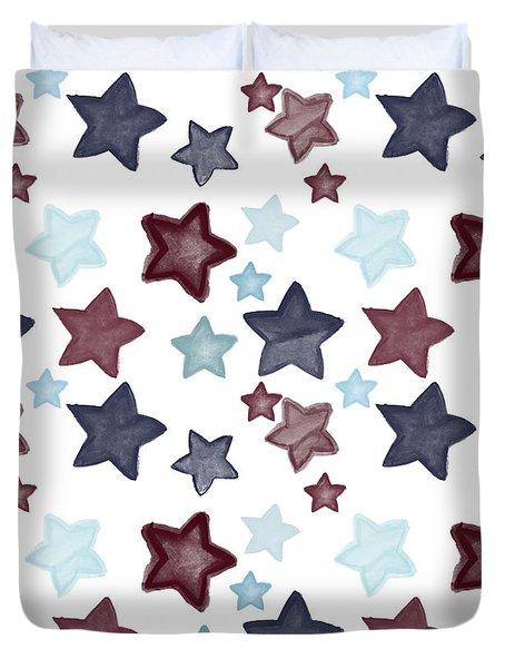 Watercolor Blue Red Stars Duvet Cover