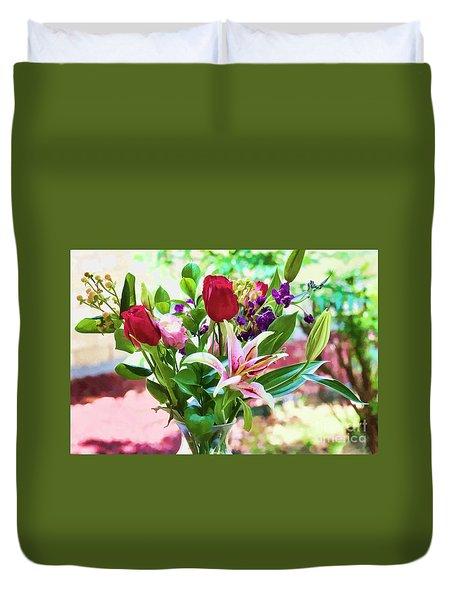 Watercolor Bouquet Duvet Cover