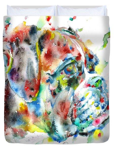 Watercolor Boxer Duvet Cover