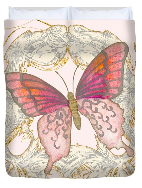 Watercolor Butterfly With Vintage Swirl Scroll Flourishes Duvet Cover
