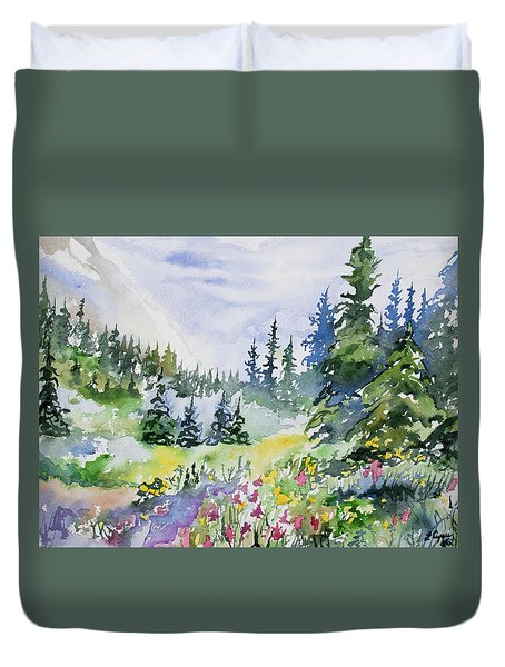 Watercolor - Colorado Summer Scene Duvet Cover